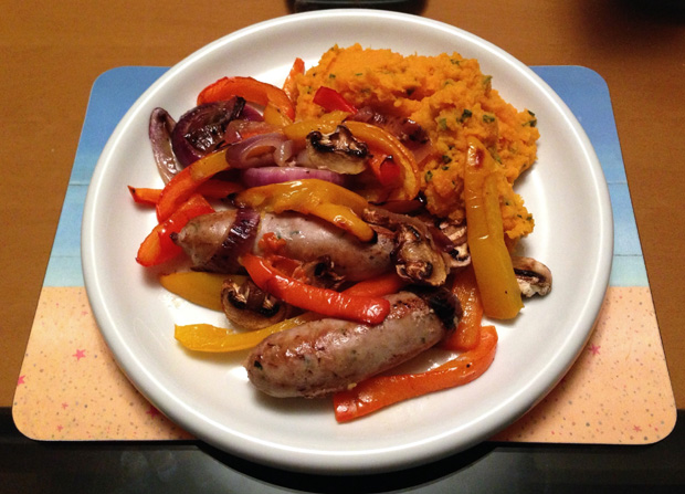 Sausages with Veg and Sweet Potato Mash