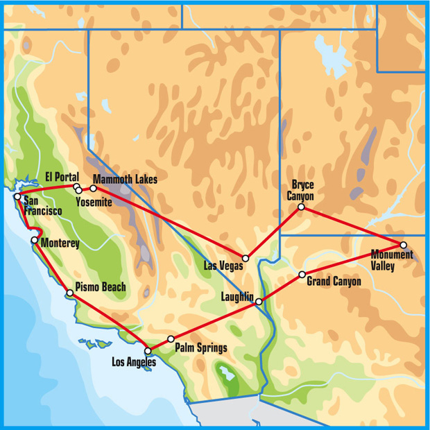 Wild West Tour Route (image from Eagle Rider)