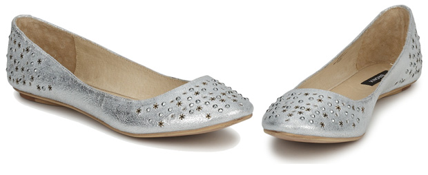 Bronx Silver Flat Shoes