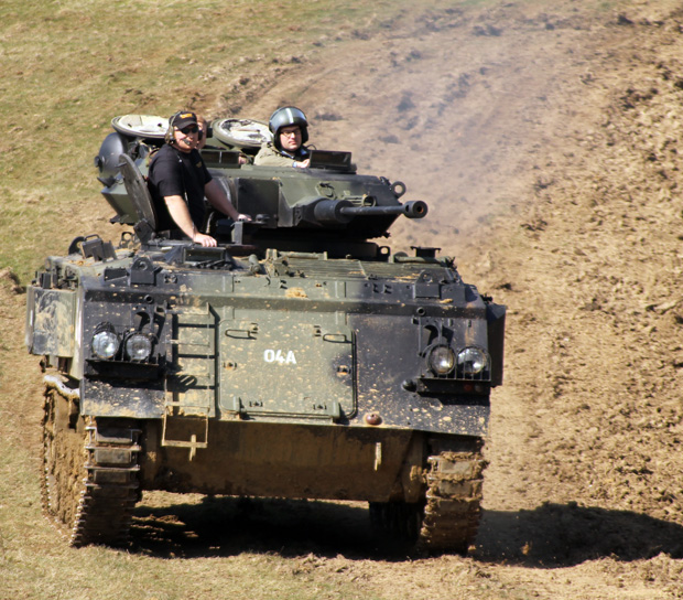 Tank Driving Experience at Armourgeddon - Me Driving with Hatch Closed