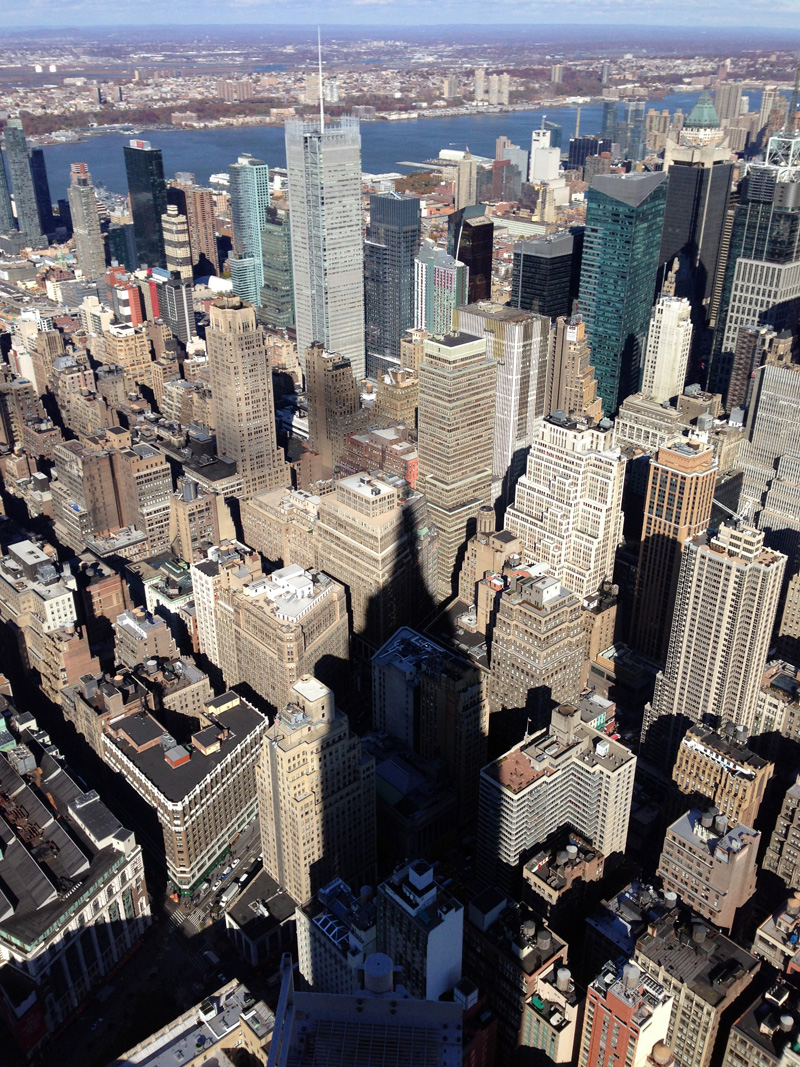 View from Empire State Building, including its shadow