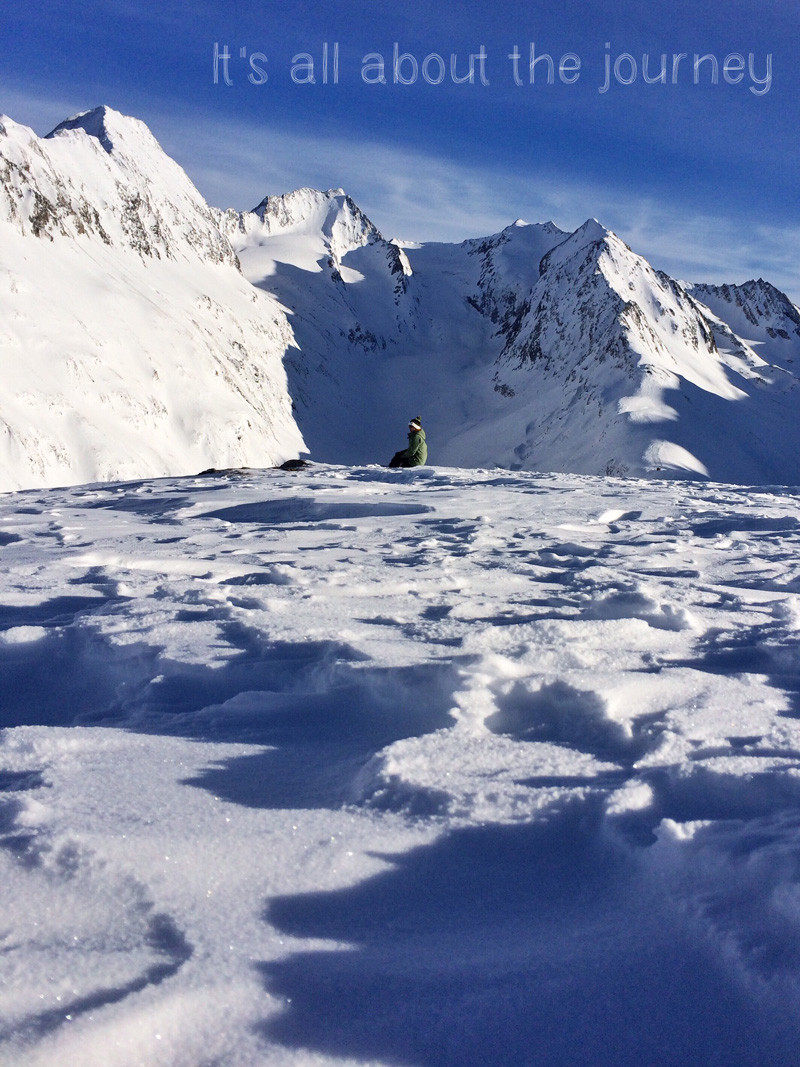 All about the journey. Sitting on Hohe Mut in Obergurgl, Austrian Alps