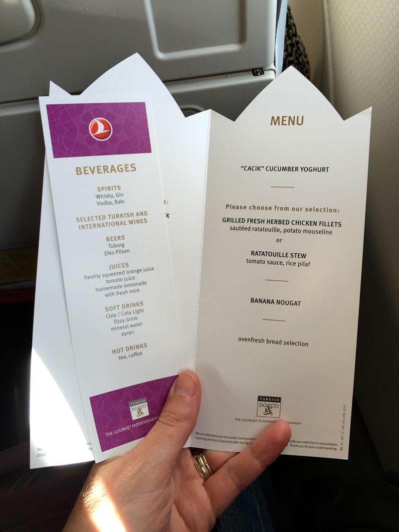 TopDeck Turkey Diary - Dinner Menu