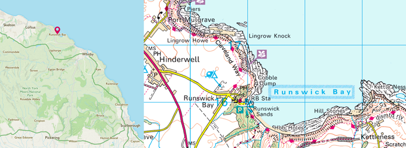 Runswick Bay OS Map